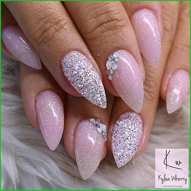 Sparkly Short Stiletto Nails
