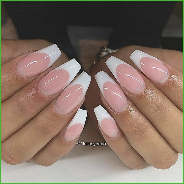 Simple French Tip Coffin Nails