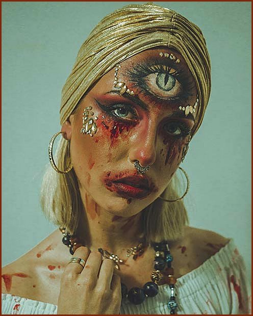 Scary Fortune Teller Makeup for Halloween