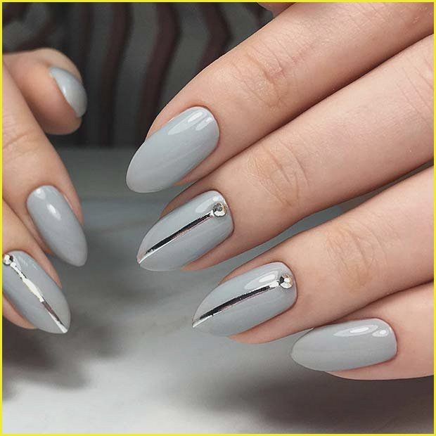 Stylish Grey Nails with Silver Tape