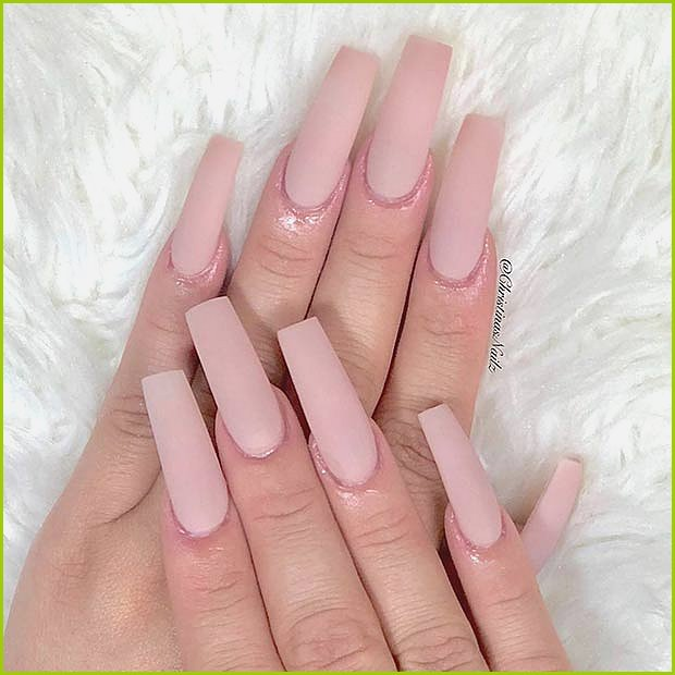 Matte Nude Square Acrylic Nails