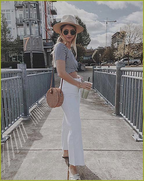 White Jeans and Striped Shirt Outfit