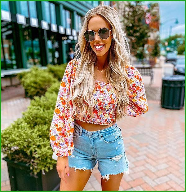 Floral Top and Denim Shorts