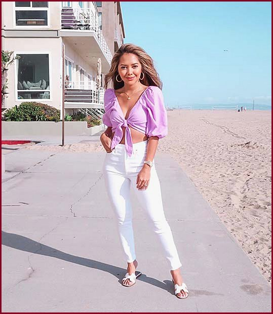 Pretty and Purple Top with White Jeans