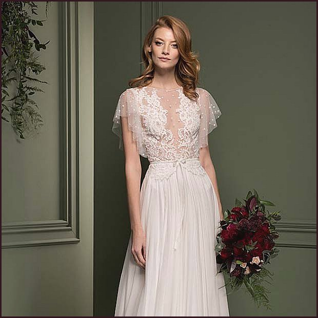 Vintage Wedding Dress with a Sheer Top