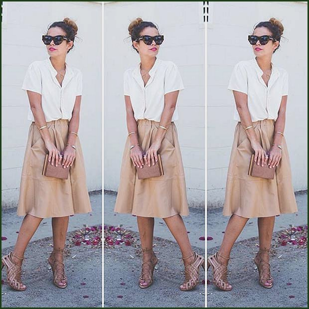 White Shirt and Midi Skirt Outfit