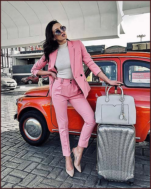 Pink Suit and Nude Heels Work Outfit