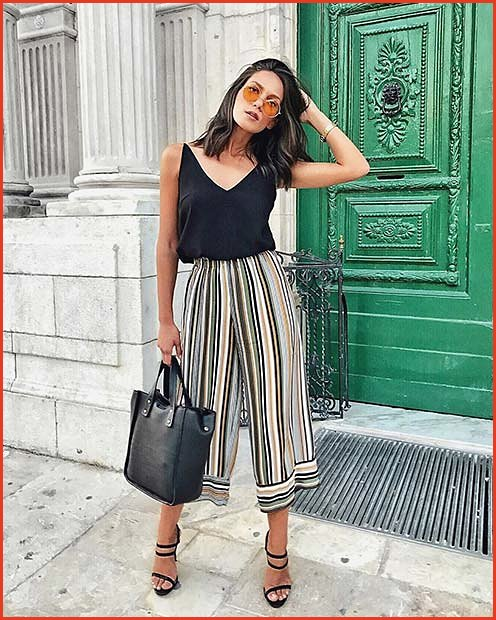 Summer Stripe Culottes Outfit Idea for Work