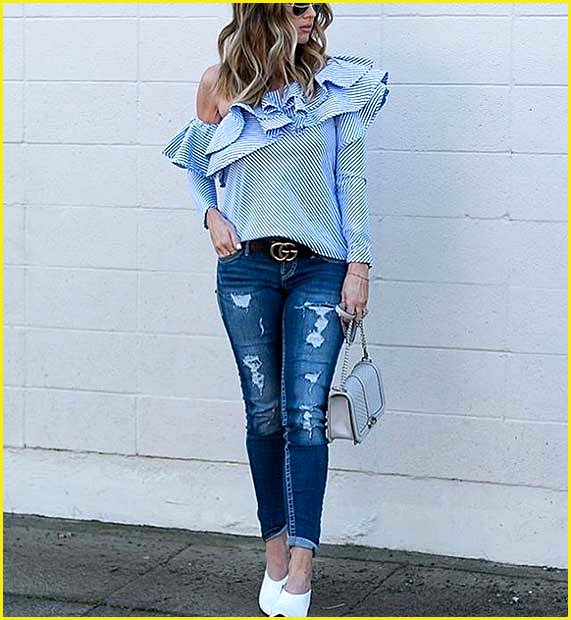 Statement Ruffle Blouse and Jeans Outfit Idea for Summer