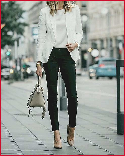 Simple and Stylish White Jacket and Black Pants for Work