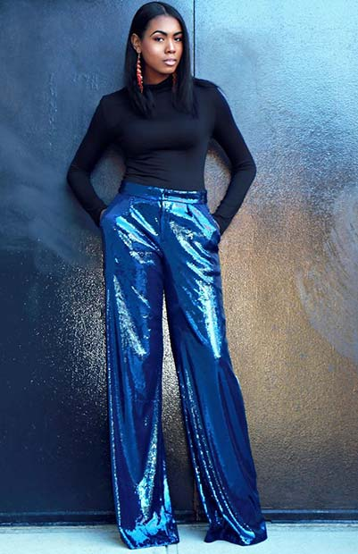 Sequin Party Trousers Outfit