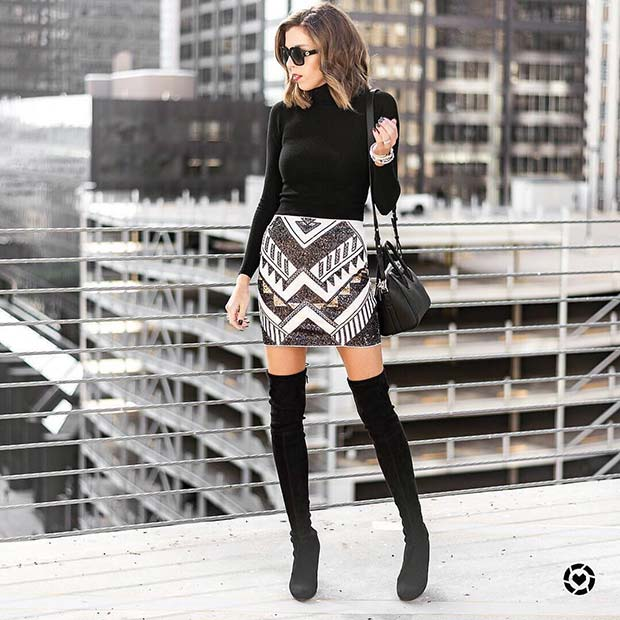 Skirt and Over the Knee Boots
