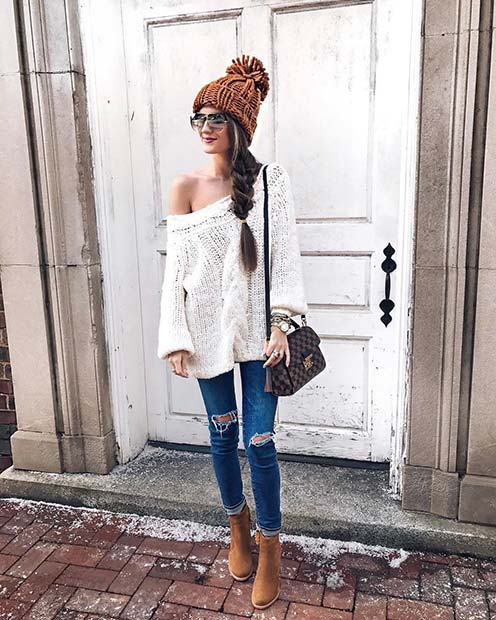 Cute Sweater and Hat for Cute Outfits to Copy This Winter