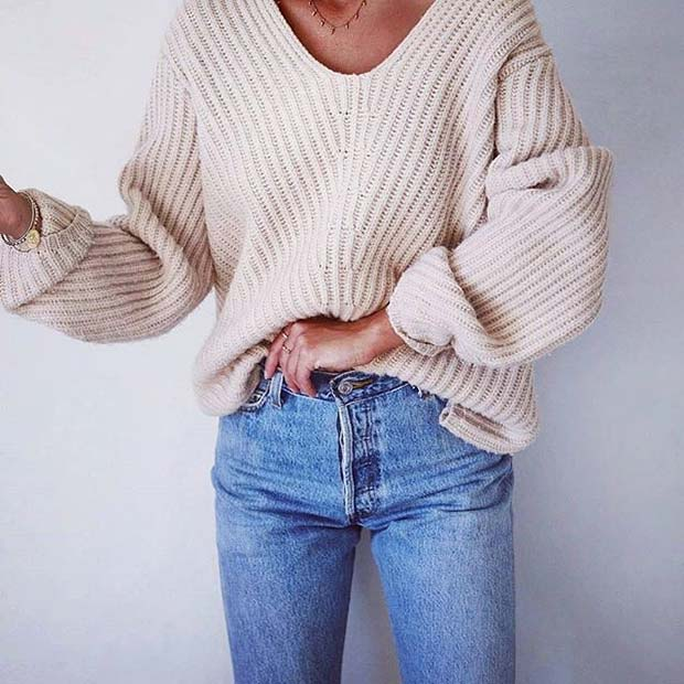Sweater and Jeans for Cute Fall 2017 Outfit Ideas