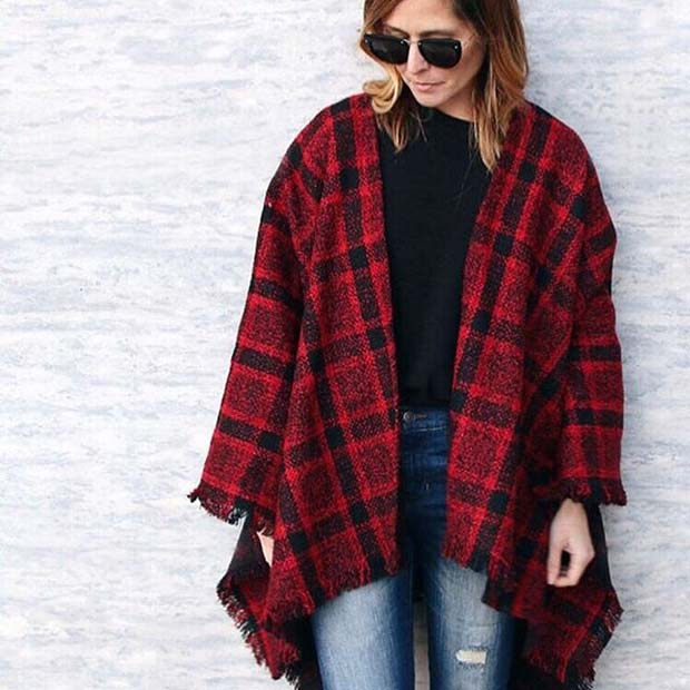 Poncho Shawl for Cute Fall 2017 Outfit Ideas