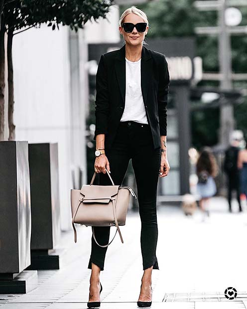 Chic Black and White Outfit Idea for Cute Fall 2017 Outfit Ideas
