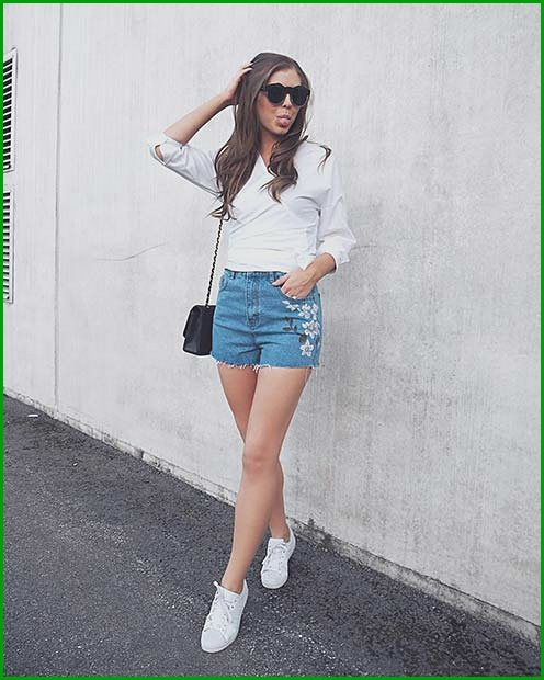 Embroidered Denim Shorts for Casual Summer Outfits