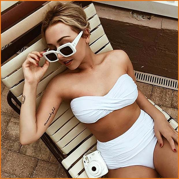 White Bandeau High Waist Bathing Suit for Summer 2017