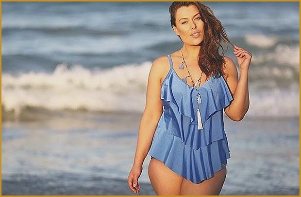 Blue Three Tier One Piece Bathing Suit for Summer 2017