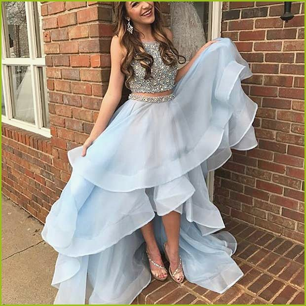 Sparkly Two Piece Baby Blue Prom Dress