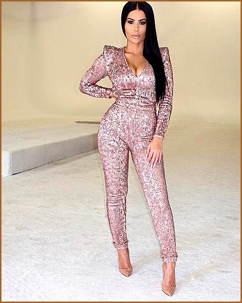 Pink Sequin Jumpsuit Outfit New Year's Eve