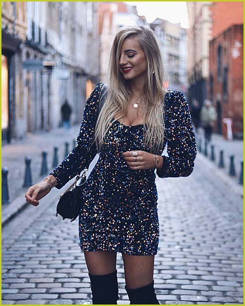 Sparkly Dress with Thigh High Boots
