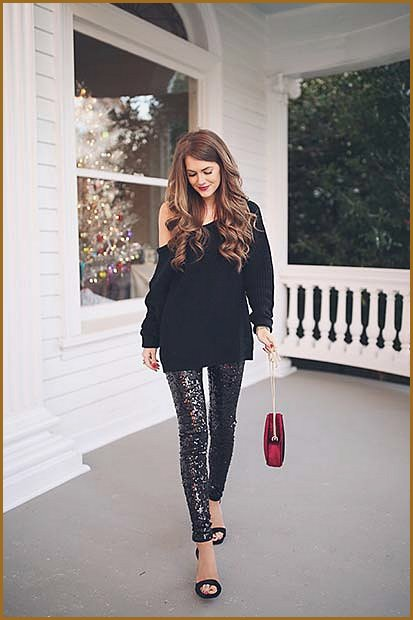 Oversized Sweater and Sequin Trousers
