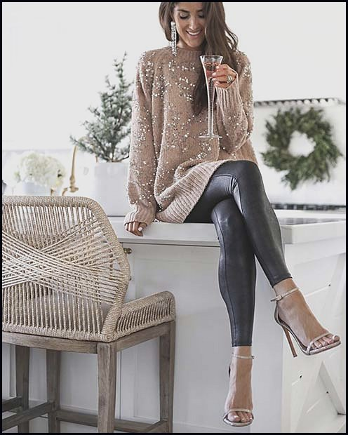 Chic Sweater with Edgy Faux Leather