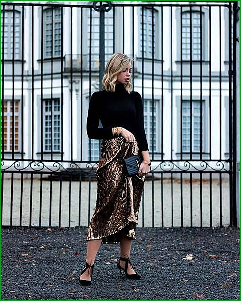 Black Sweater with a Gold Skirt