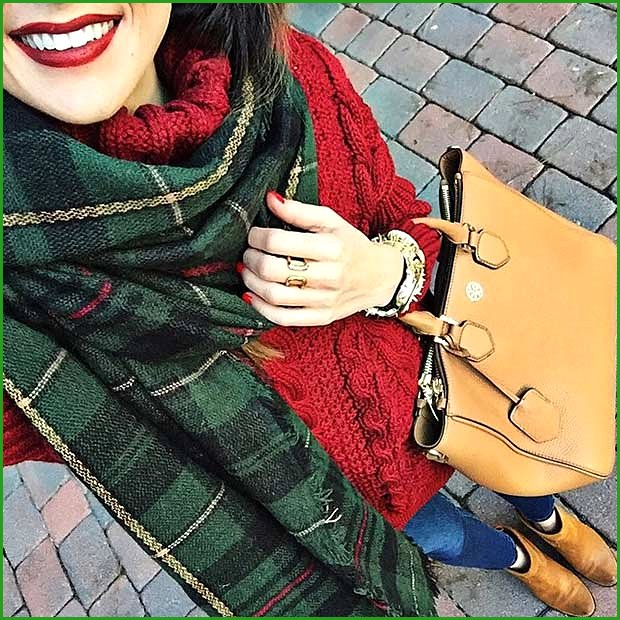 Red Sweater Tartan Scarf Christmas Outfit Idea