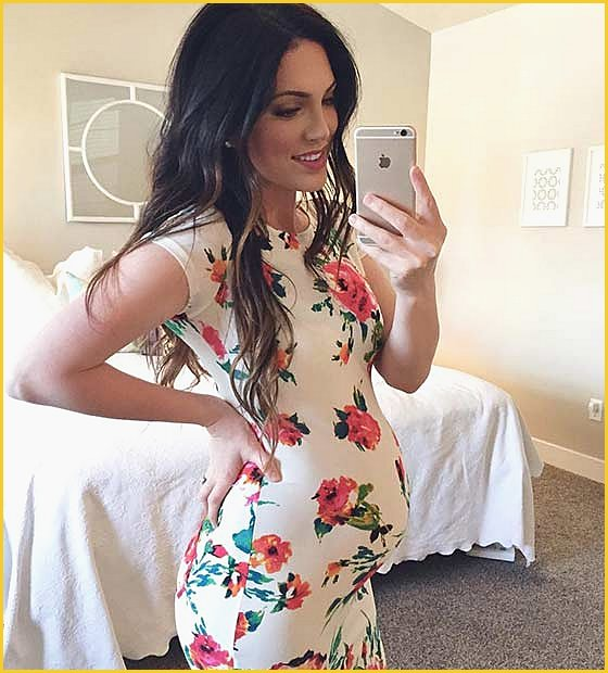 Pregnancy Floral Bodycon Dress Outfit