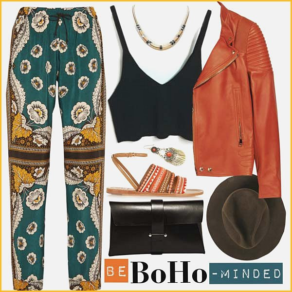 Gypsy pants and Leather Jacket Coachella Outfit