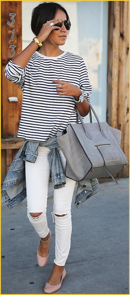 Striped Blouse White Skinny Jeans Outfit