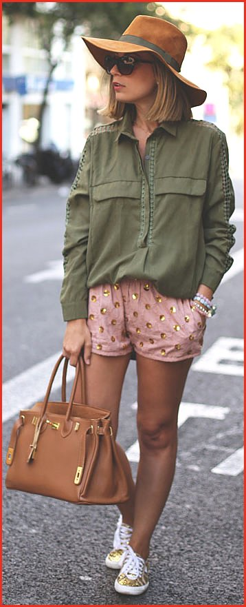 Army Green Gold Sequins Spring Outfit
