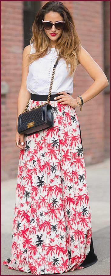 Maxi Print Skirt White Top Outfit