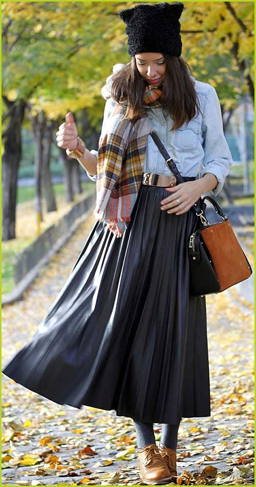 Leather Maxi Skirt Denim Blouse Outfit