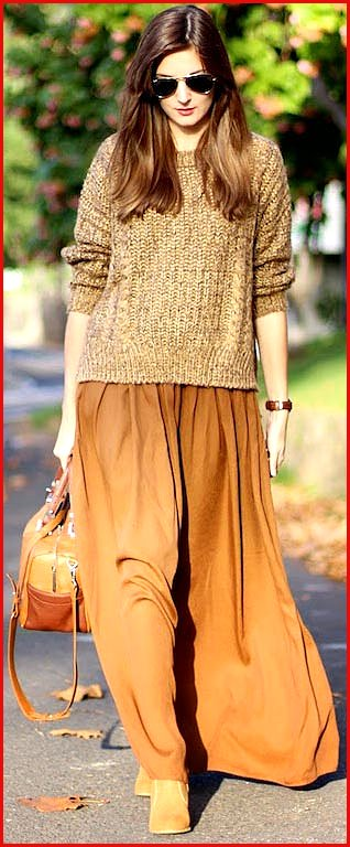 Brown Maxi Skirt Sweater Outfit