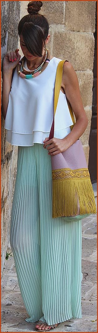 Mint Maxi Skirt White Top Outfit