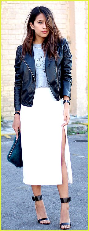 White Maxi Skirt Leather Jacket Outfit