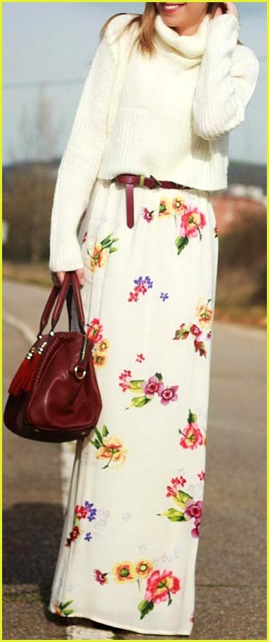 Floral Maxi Skirt with Sweater Outfit
