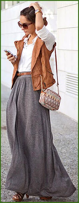 Grey Maxi Skirt White Button Up Outfit