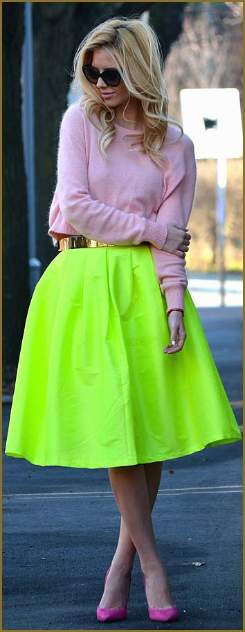 Crop Top Sweater Neon Midi Skirt Outfit