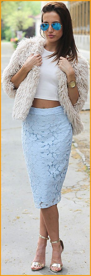 Outfit with White Crop Top and Lace Pencil Skirt