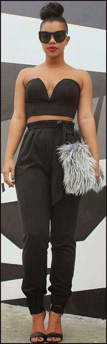 Crop Top High Waisted Trousers Outfit