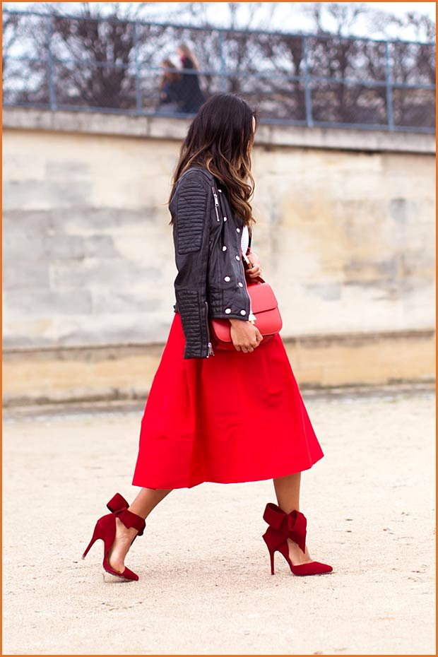 Red Midi Skirt Leather Jacket Outfit