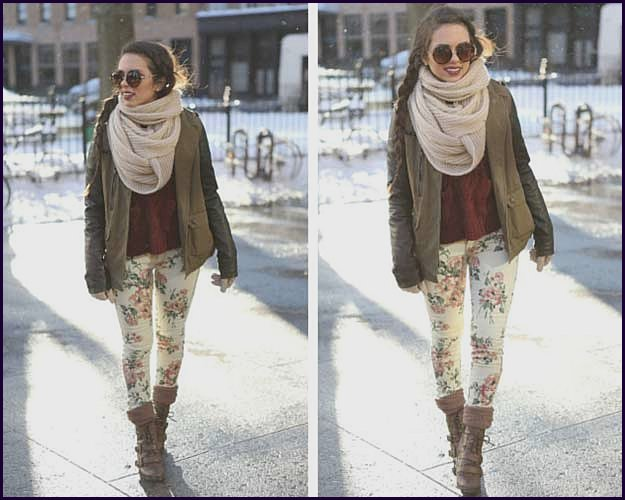 Floral Pants Outfit in Winter