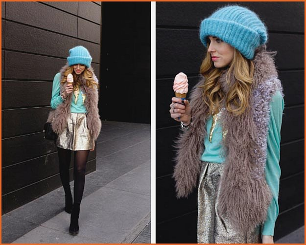 Gold Turquoise Winter Outfit