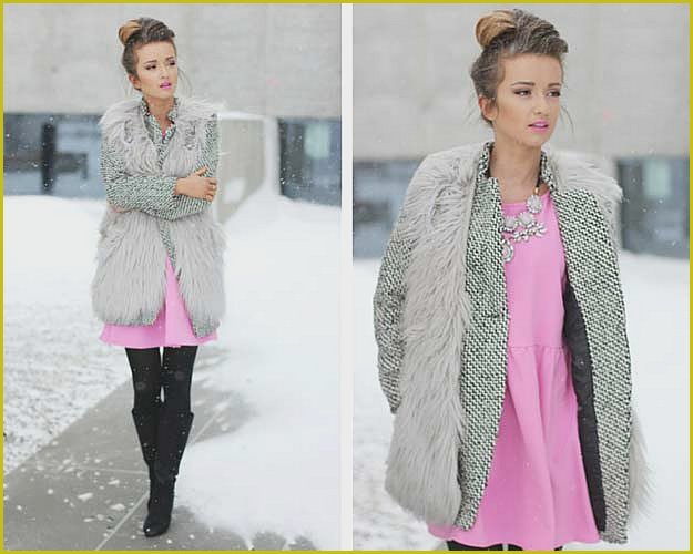 Pink and Grey Winter Outfit