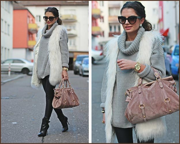 White Faux Fur Vest Grey Sweater Outfit
