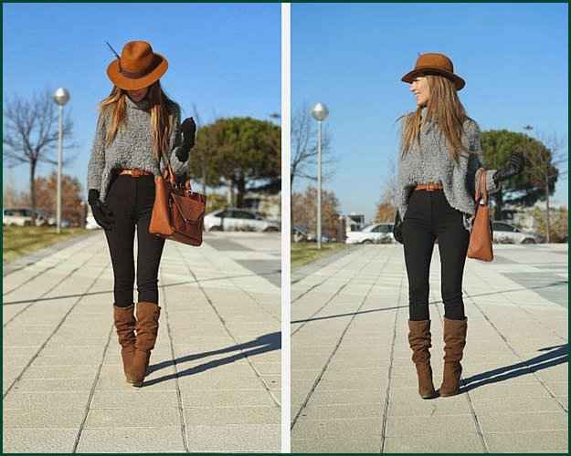 Grey, Brown and Black Winter Outfit